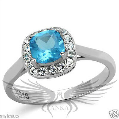 Brilliant 0.8ct Cushion Synthetic Glass Engagement Halo Ring 5 6 7 8 9 10 TK2161