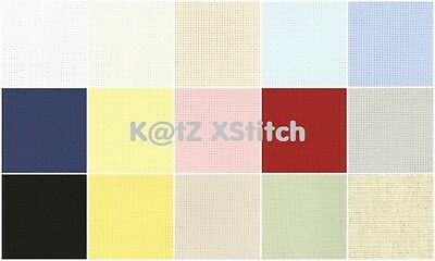 16 COUNT ZWEIGART AIDA 50 x 55cm / 19½ x 21½in (FAT QUARTER) - Various Colours