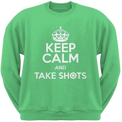 St. Patricks Day - Keep Calm Take Shots Irish Green Adult Crew Neck Sweatshirt