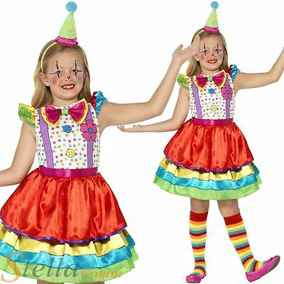 Girls Deluxe Clown Costume Circus Fancy Dress Child Kids Outfit 4-12