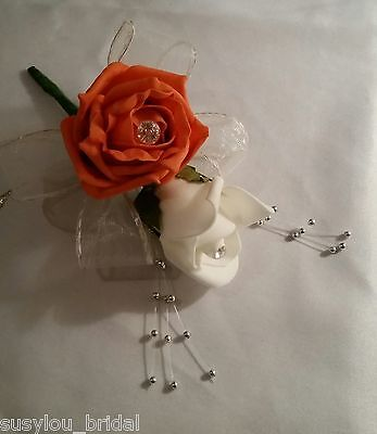 Wedding Buttonhole/Corsage Orange & Ivory Roses Ivory Ribbon Silver Ball Sprays