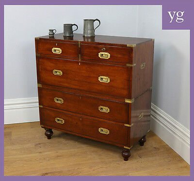Antique Colonial Victorian Teak Brass Military Campaign Bedroom Chest of Drawers