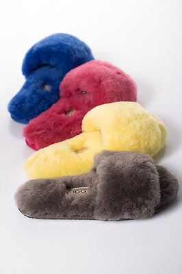 OZLANA Australian Sheep skin UGG Toe-post Fluff Slide Slippers/Scuff  for Lady