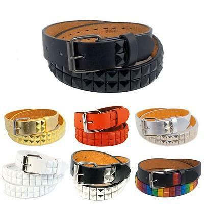 Kids 2-Row Pyramid Studded Leather Belt Snap-On Roller Buckle Unisex Boys Girls