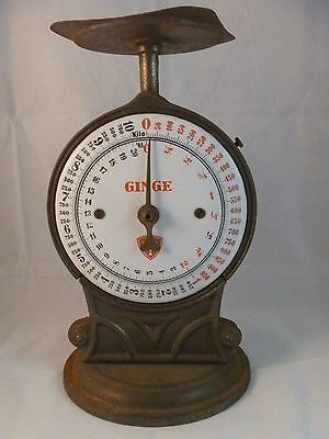 Antique Ginge Kitchen Scale Porcelain Face 20 lbs.