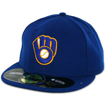 Milwaukee BREWERS ALTERNATE New Era 59FIFTY Fitted Caps MLB AC On Field Hats