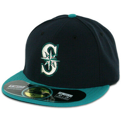 Seattle MARINERS ALTERNATE NavyTeal New Era 59FIFTY Fitted Caps MLB On Field Hat