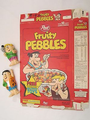 POST Empty Cereal Box 1992 FRUITY PEBBLES with HOLLYROCK TOYS Flintstone Rubble