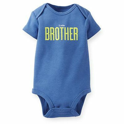 New Carter's Boys Little BROTHER Blue Bodysuit Top Graphic Tee 6m 9m 12m 18m 24m