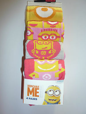 DESPICABLE ME Girls 4 Pairs Socks NWT
