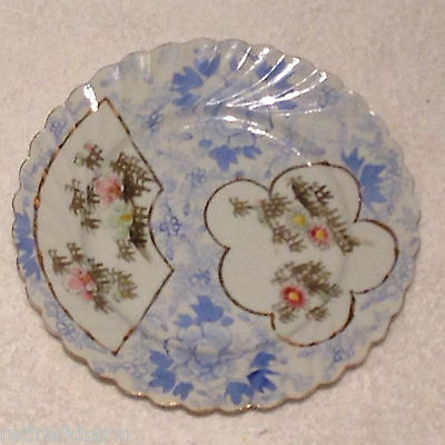 ❤Old Antique Japanese Porcelain China Hand Painted Ruffled Flowers Plate Signd❤