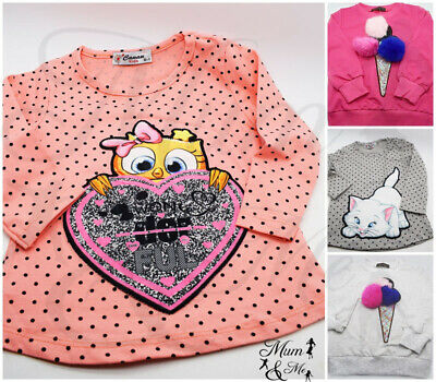 NEW Cute Kids Girls Top Cotton Pom Pom Long Sleeved Glittery Party Casual Tops