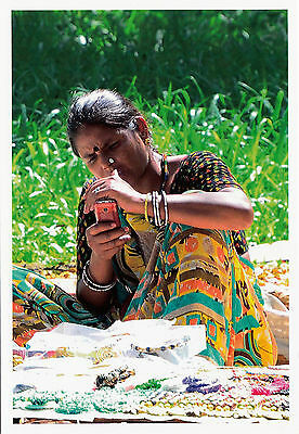 (14162) Postcard  India Banjara Woman with mobile phone