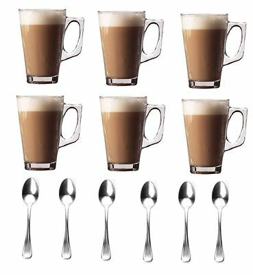 New Set Of 6-240ml Coffee Cappuccino Tea Café Latte Mugs Glasses Cups Spoons