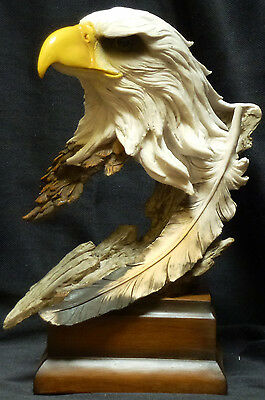PIERCE   Eagle Head with Feather  Statue Figurine  H12""
