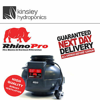 Rhino Fan Single Speed 4 5 6 8 10 Inch Inline Extractor Hydroponics A1 L1 Filter