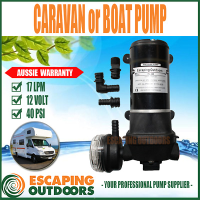 12V Caravan Pump or Boat Pump Quiet 12 volt 17 l/min 40 PSI Heavy Duty