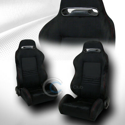 2X Universal T-R Black Suede Red Stitch Reclinable Racing Bucket Seat+Slider C12