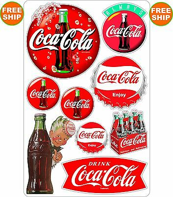 Coca Cola Vintage Vinyl 9 Decal Sheet Coke Soda Pop soft drink FREE SHIPPING 2