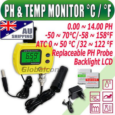 AU Ship PH Meter Monitor Replaceable Probe separate Temperature Sensor °C/°F ATC