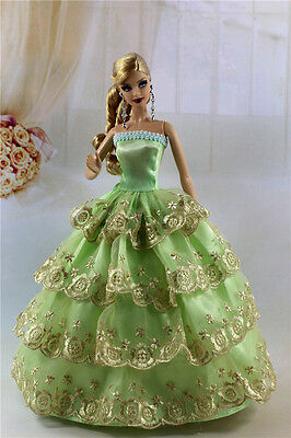 Green Fashion Party Dress/Wedding Clothes/Gown For Barbie Doll S185