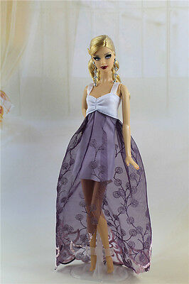 Fashion Purple Lace Party Dress/Evening Clothes/Gown For Barbie Doll FS01