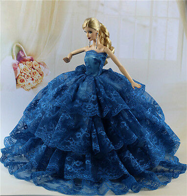 Blue Fashion Royalty Princess Party Dress/Clothes/Gown For Barbie Doll E03