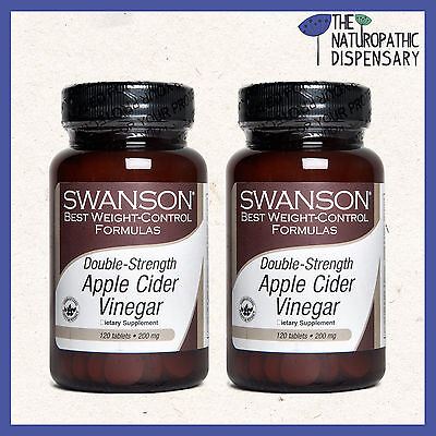 x2 Swanson. DOUBLE STRENGTH APPLE CIDER VINEGAR. 120 TABLETS 200 mg