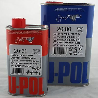 Upol S2080 2K HS Acrylic Clearcoat Lacquer + Extra Fast Hardener 1.5lt Kit