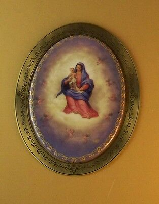 OUR HEAVENLY MOTHER Blessed Virgin Plate Porcelain Metal Frame Catholic 0693A