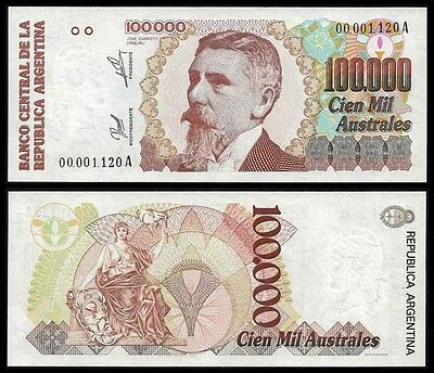 Argentina 100000 AUSTRALES Serie A ND 1990 P 336 UNC low serial