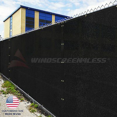 Customize Black 4' 5' 6' 8' Tall Fence Privacy Wind Screen Mesh Fabric w/Zip