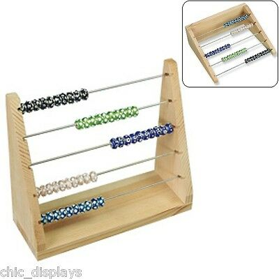 Natural Solid Wooden Charms Organizer Rondelles Rack Pandora Bead Display