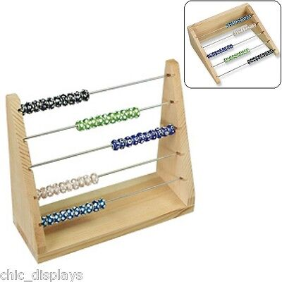 Natural Solid Wooden Charms Organizer Roundels Rack Pandora Bead Display