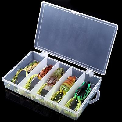 Colorful 5pcs Soft Frog Fishing Lures Bass Fishing Hooks Bait Tackle Topwater US
