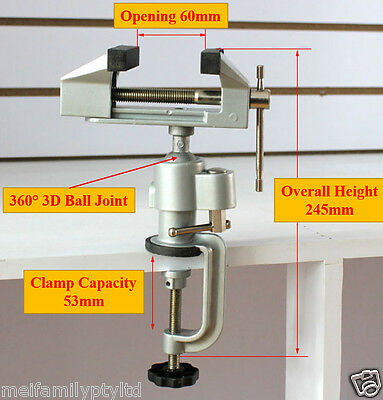 Universal Multi Angle Swivel Table Vice Die Cast Portable Bench Vise Clamp 3D