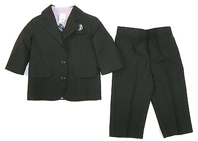 Infant Boy's 4-Piece Suit Long Sleeve Shirt Jacket Pants Tie Pinstripe