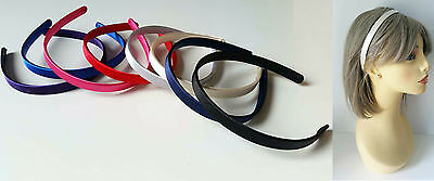Gorgeous 12mm wide satin fabric covered headband - aliceband, 8 colour options