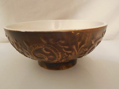 Vintage Haeger Pottery Ceramic Bowl - Brown Scroll and Leaf  - Marked USA 102