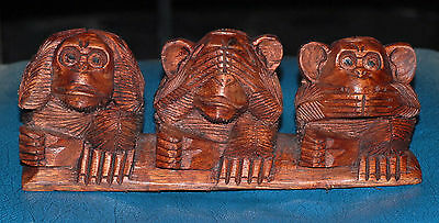 Wooden Hand Carved Three Wise Monkeys Hear See Speak No Evil ON BASE.....