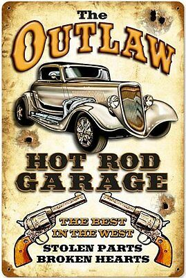 Outlaw Hot Rod Garage rusted metal sign     (pst 1812)