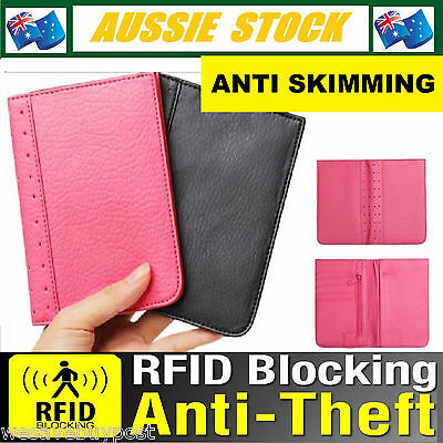 Pink RFID Anti Scan Blocking Leather Travel Passport Card Wallet Protection