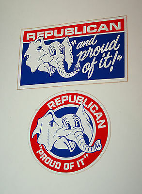 2 1970s Republican & Proud Of It! Elephant Vinyl Sticker New NOS Party Election