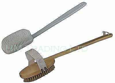 Plastic / Wooden Long Handle Reach Back Body Bath Shower Brush Bristle Scrubber