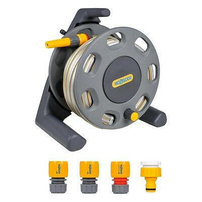 Hozelock 2412 Compact Hose Reel Pipe 25m Garden Hose With Starter Fittings Jet