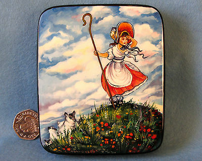 Russian HAND PAINTED trinket LACQUER Box English nursery rhyme Little Bo Peep
