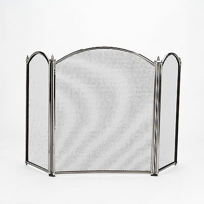 """22"""" 3 Section Panel Curved Top Fire Guard Screen Protector Pewter"""
