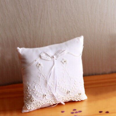 Coussin Mariage Porte Alliances Ivoire Noeud Broderie Strass NEUF
