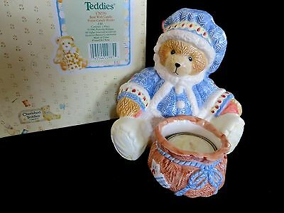 Cherished Teddies Bear Tealight Candle Holder- NEW in Box
