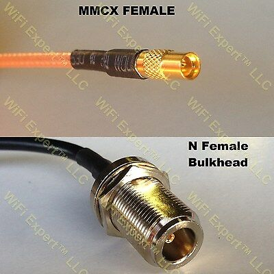 USA-CA RG316 DS BNC FEMALE SM BULKHEAD to MMCX MALE Coaxial RF Pigtail Cable